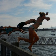 jumping into the bay