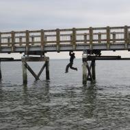 hanging from boardwalk