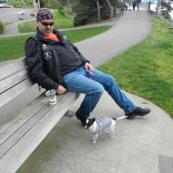 biker dude and pup