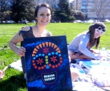 Ashley and her painting: Day of the Dead