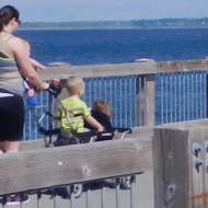 Kayla takes a walk with her three little ones