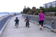 riding bikes on the boardwalk