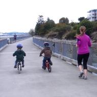 riding bikes on the boardwalk