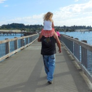 Little girl on her daddy's shoulders