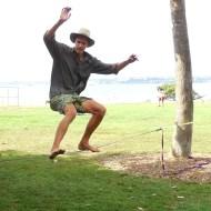 Scott leaps onto the tightrope