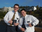 Mormon missionaries sharing their faith on the boardwalk