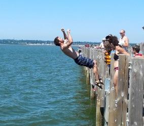 Chris executes a back flip