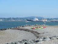 kayaks on Boulevard Park beach