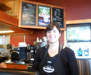 Allie at Woods (I had the pumpkin spice latte and maple scone combo)