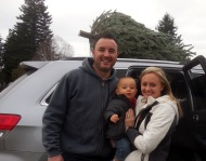 Croft, Cole, and Candice with their new Christmas tree