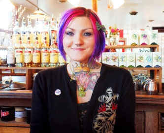 Tina with the rainbow hair and the tattoo art