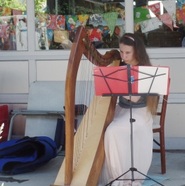 harpist at the Bellingham Farmers Market