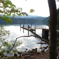 Reflection of dock on Lake Padden (photo by Karen Molenaar Terrell)