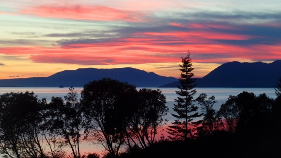 Sunset from the Chuckanut Manor (photo by Karen Molenaar Terrell)