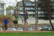 Ian balances on a slackline
